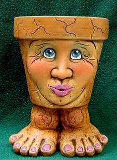 Kissy Face Pot Person ... Pucker Up Waddle Pot TL1254 Clay Pot Projects,