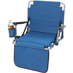Ultra Stadium Portable Cushion Chair w/ Cup Holder, Blue Folding Bleacher Seat  for Kyle