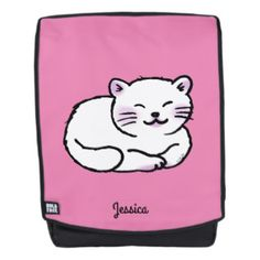 cute fluffy white & pink cat (add name) backpack