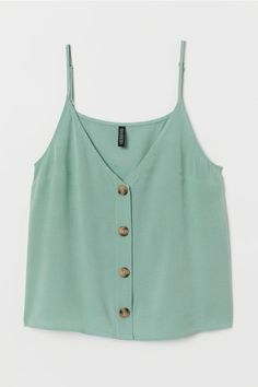 V-neck Camisole Top - Dusky green - Ladies Cute Summer Outfits, Trendy Outfits, Cute Outfits, Fashion Outfits, Cute Summer Tops, Summer Tank Tops, Woman Outfits, Casual Summer, Make Up Studio