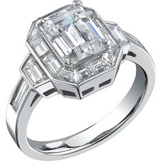 Platinum ring featuring 16 baguette diamonds channel set with 1.37ct. total weight