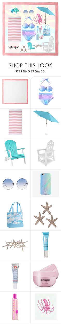 """""""Rosegal / ombré bikini set"""" by neesyrn ❤ liked on Polyvore featuring Deborah Rhodes, Rip Curl, Pier 1 Imports, DutchCrafters, Linda Farrow, UPROSA, PBteen, Givenchy, First Aid Beauty and Sephora Collection"""