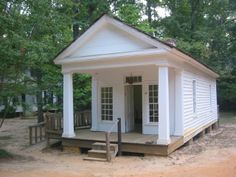 Small Greek Revival building - now an office and craft/trade demonstration area- originally a schoolhouse, perhaps? at Historic Westville in Lumpkin, GA.