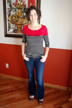 A stitch fix item i really liked from someone else's box.  Classic breton stripes and nice button detailing at shoulder.