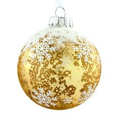 Crackle Finish Matt Champagne Bauble with Snowflakes, 100mm - Dobbies Garden Centres