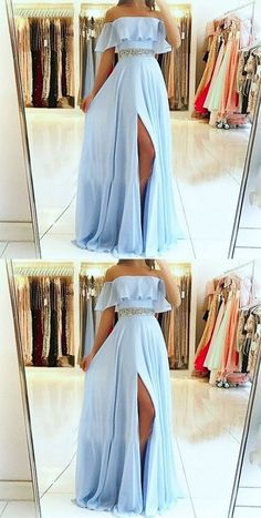 A-Line Off the Shoulder Split Front Blue Chiffon Prom Dress with Beading Belt so. - - A-Line Off the Shoulder Split Front Blue Chiffon Prom Dress with Beading Belt sold by Fantasy on Storenvy Source by Pretty Prom Dresses, Prom Dresses Blue, Ball Dresses, Elegant Dresses, Homecoming Dresses, Cute Dresses, Ball Gowns, Sexy Dresses, Summer Dresses