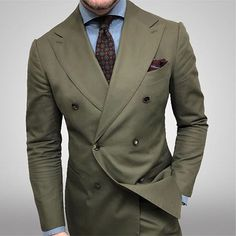Swipe right for detail. Suit and tie from Shirt by . Mens Tailored Suits, Slim Fit Suits, Mens Suits, Khaki Suits, Dapper Suits, Green Suit Men, Olive Green Suit, Suit Up, Suit And Tie