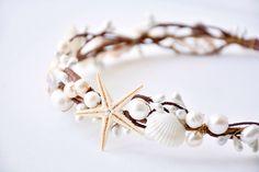 Seashell crown, Beach wedding hair accessories, Bridal headband, Rustic headpiece, Starfish tiara - ARIEL by NoonOnTheMoon on Etsy https://www.etsy.com/listing/233441429/seashell-crown-beach-wedding-hair