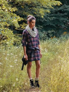 From our October edition of What To Wear, featuring the Flannel Shirt Tunic: just like our classic plaid button down (the oh-so-soft wash, the flattering fit!) with a legging-friendly length.