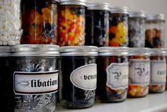 Halloween Candy Bar set of 8 jars filled with by PaperPolaroid, $28.00