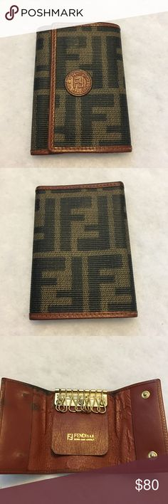 """Vintage Authentic Fendi Logo Key Case Authentic Fendi Key Holder Case featuring an 'FF' """"Zucca"""" printed coated canvas, leather trim, snap closures, and eight hooks. Style # 2457-10163/8 Fendi Accessories"""