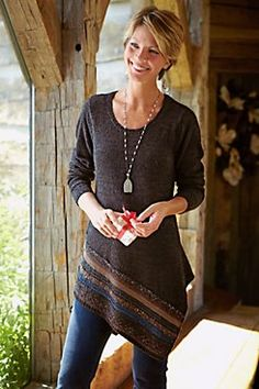 Raku Tunic - Striped Tunic Top, Knit Tunic, Scoop Neckline | Soft Surroundings
