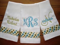 Baby boy Custom Boutique Burp Cloths all by doodlegirls on Etsy, $25.00