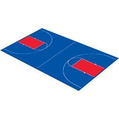 DuraPlay Full Court Basketball Kit, 44'3 inch x 75'6 inch, Royal Blue and Red, Orange