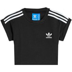 Adidas Originals Cotton Blend Crop Top ($49) ❤ liked on Polyvore featuring tops, black, cropped tops, stripe crop top, stripe top, cut-out crop tops and adidas originals