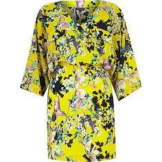 Yellow crepe floral print kimono dress - day / t-shirt dresses - dresses - women