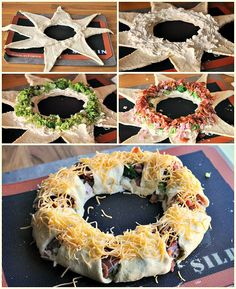 How to DIY Holiday Crescent Wreath Appertizer for Christmas Yummy Appetizers, Appetizers For Party, Appetizer Recipes, Crescent Roll Recipes, Christmas Appetizers, Side Recipes, Diy Food, Love Food, Holiday Recipes