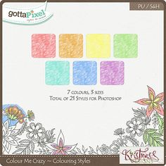 Colour Me Crazy Colouring Styles :: Gotta Pixel Digital Scrapbook Store by Kristmess $3.50