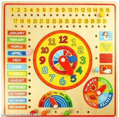 Bigjigs Toys Calendar, Clock Days and Months by Bigjigs Toys - Shop Online for Toys in Argentina Wooden Calendar, Calendar Board, Calendar Time, Weather Calendar, Wooden Toy Shop, Wooden Toys, Days And Months, Months In A Year, 3 Years