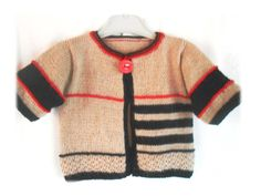 gilet pull bébé 1 an cardigan 12 mois tricoté main orignal cadeau de naissance : Mode Bébé par l-atelier-de-zoune