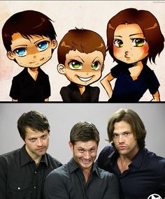 "I like how only the tone for Jared doesn't change. He's still just posing, making the duck face. Jensen goes from 'OMG! I'm so happy! I'm gonna pee!' to 'OMG! I'm going to murder your whole family and make you watch!"" and Misha goes from unamused to ""I like watching you while you sleep"""