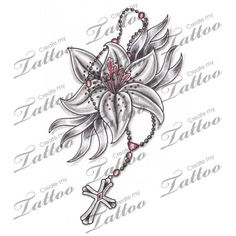 Marketplace Tattoo Lily Flower & Rosary Tattoo #6830 | CreateMyTattoo.com