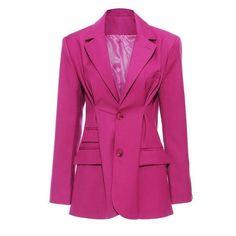 Women Rose Red Pleated Split Temperament Blazer New Lapel Long Sleeve Loose Fit Jacket Fashion Spring Autumn 84.26 CAD Lace Blazer, Leather Blazer, Blazer Jacket, Origin Clothing, Blazers For Women, Women Blazer, Long Sleeve Tunic, Jacket Style, Work Wear