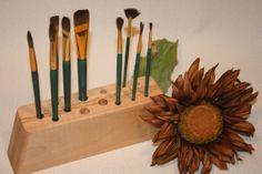 Maple/Oak Artist Brush Holder by KooteniaDesigns on Etsy, $24.99