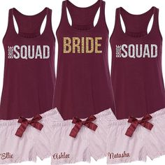 BRIDE or BRIDE SQUAD Glittery Flowy Tank and by BeforeTheIDos #beforetheidos #bridesquad