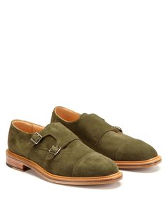 Mark McNairy loden green suede double monkstraps