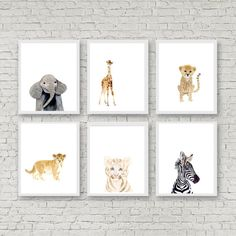 Lets make your little ones room warm and enjoyable!  This animal portrait art prints collection features a set of 6 prints from my safari animals