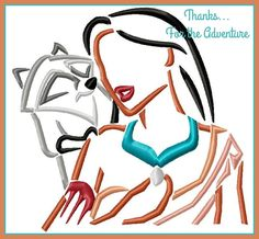 Pocahontas and Meeko Sketch Digital Embroidery Machine  Design File 4x4 5x7 6x10…