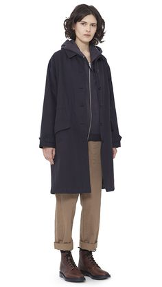 WOMEN AUTUMN WINTER 15 - Navy proofed cotton Drawstring Parka MHL, charcoal cotton/wool Hooded Sweatshirt MHL, biscuit cotton Woven Track Trouser MHL, natural/grey Shetland wool Boot Sock MHL, brown leather Derby Boot MHL