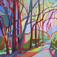 Daily Painting, Sprouting Innovation, contemporary abstracted landscape, painting by artist Carolee Clark