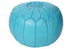 Folami Moroccan Leather Pouf, Turquoise on OneKingsLane.com 189.00 Made in India