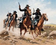 Frank McCarthy - Hostiles on the Ridge, Oil on canvas kK American Indian Wars, American Civil War, Cowgirl And Horse, Cowboy Art, Native American Models, American Artists, Military Art, Military History, Westerns