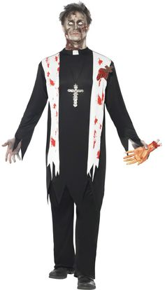 Buy this Men's Zombie Priest Halloween Fancy Dress Costume from The Ultimate Party Shop, located in Cheltenham and Worcester. Halloween Zombie, Costume Halloween, Halloween Fancy Dress, Adult Halloween, Costume Zombie, Halloween 2016, Halloween Tricks, Halloween Inspo, Halloween