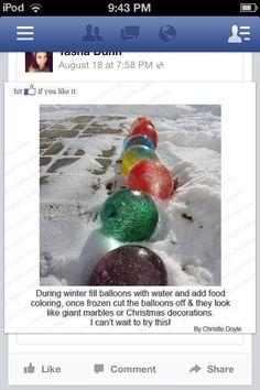 Winter fun water ballon decoration