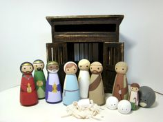 Nativity Set  13 pc Wood Peg Doll/People Nativity Set by Pegged