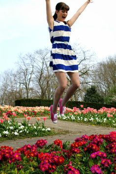 Spring fashion in London #dresses #stripes
