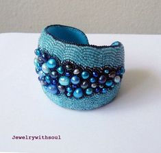Bead embroidery cuff bracelet with freshwater by jewelrywithsoul, $150.00