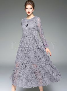 Elegant Pure Color Hollow Lace Maxi Dress in 2019 Dress Brukat, Kebaya Dress, Lace Dress, Kurta Designs, Tumblr Shirt, Casual Dresses, Fashion Dresses, Maxi Dresses, Dance Dresses