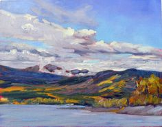 """""""Clouds over Teslin Lake,"""" by Carol L. Douglas. The atmospheric perspective here…"""