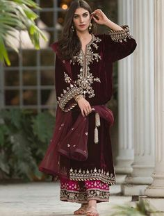 indian fashion Anarkali -- Click Visit link above for more info Pakistani Wedding Dresses, Pakistani Dress Design, Pakistani Outfits, Indian Dresses, Indian Outfits, Velvet Pakistani Dress, Pakistani Clothing, Pakistani Designer Suits, Indian Designer Outfits