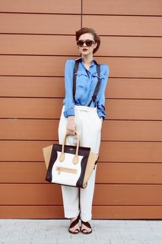 Bold women outfit with suspenders0121