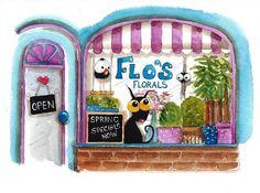 Original watercolor painting whimsical Stressie Cat bird crow flo's flower shop #IllustrationArt