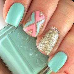 & Glitter Green & Glitter - These Pretty Pastel Nails Are Perfect For Spring - PhotosGreen & Glitter - These Pretty Pastel Nails Are Perfect For Spring - Photos Mint Nail Designs, Nail Designs Spring, Nail Art Designs, Nails Design, Pedicure Designs, Pedicure Ideas, Spring Design, Mint Nails, Pastel Nails