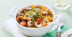 Pasta is always a favourite, but to really hit the spot on chilly nights it has to be hearty, cheesy and hot from the oven. Add easy meatballs made from sausages into the mix.