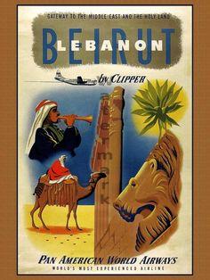 Vintage Travel Poster - Beirut, Lebanon.