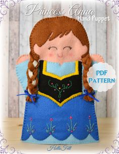PDF Pattern, Felt Princess Anna Hand Puppet, Instant Download, Felt Hand Puppet. $4.50 USD